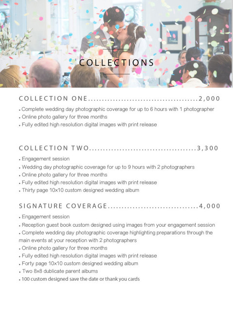 Wedding Photography Pricelist